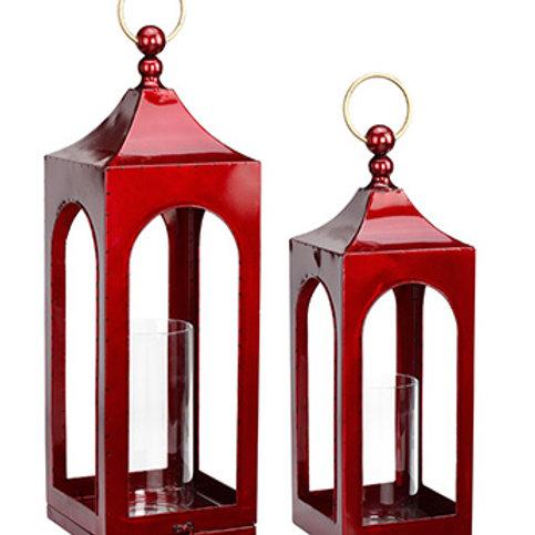 "Small Red Irridescent Lantern 21.5""H"