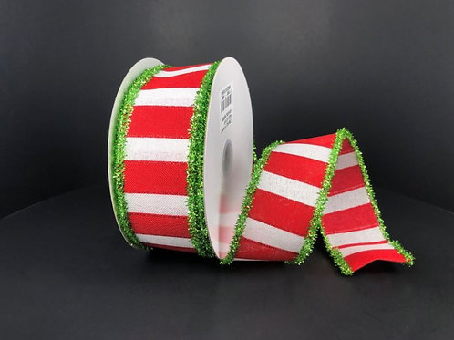 """RED-WHT WIDE STRPS/GRN 1.5""""X10Y $11.90"""