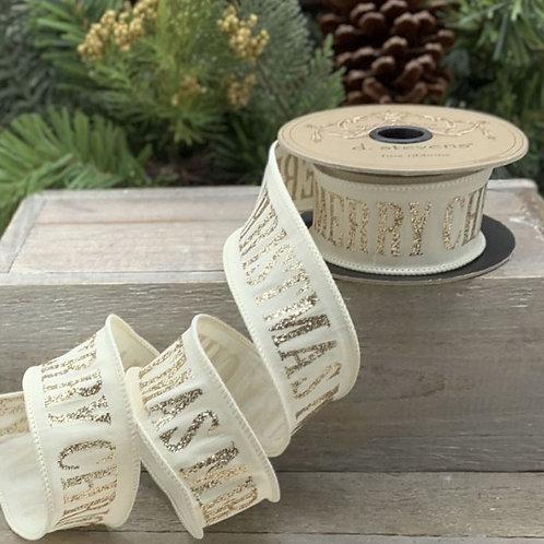 "Faux Dupion Glitter Merry Christmas Cream 1.5""x10yd"