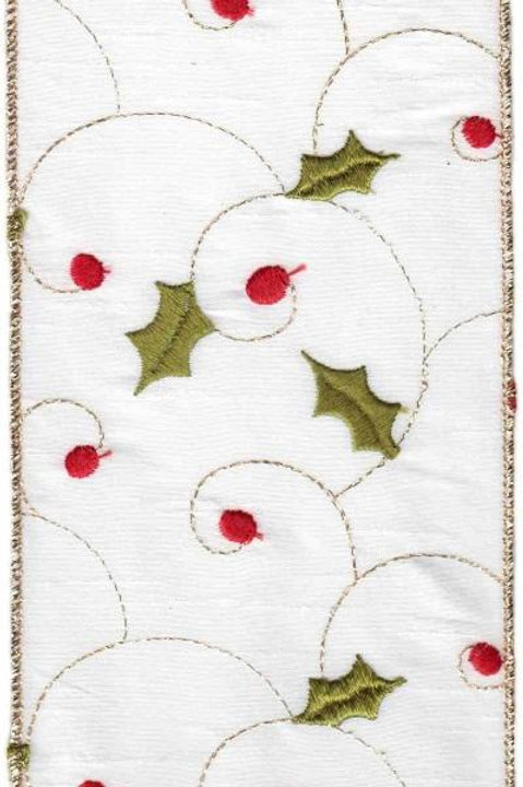 "Faux Dupion Holly, Red/Green/Gold 4""x5YDS"