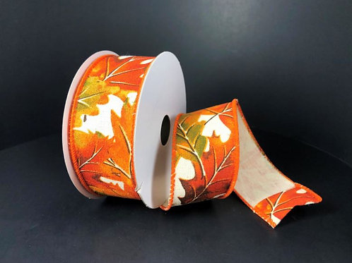 """IVORY CANVAS FALL LEAVES 2.5""""X10YD $9.90"""