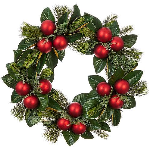 """Magnolia Leaf and Ornament Wreath 26"""""""
