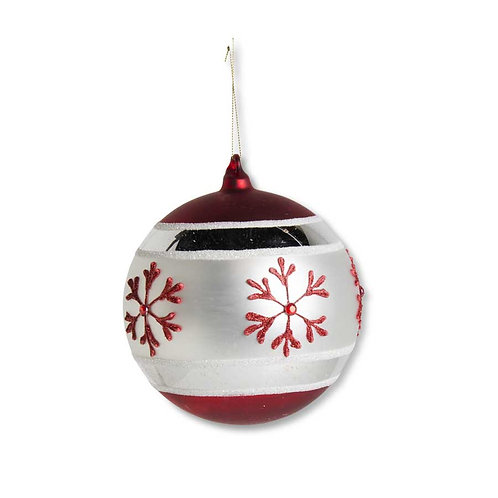 "Red & White Glass Ornament w/Snowflake 6"""