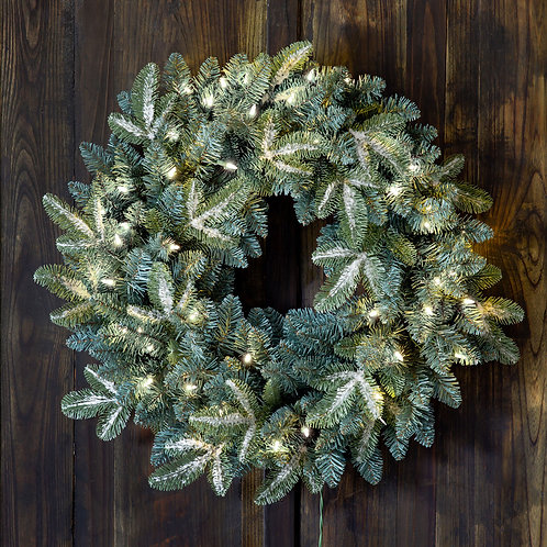 """Frosted Blue Spruce Wreath With Led Lights 24"""""""