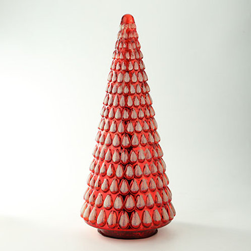 """Glass Textured Christmas Tree Red 21.5""""H x 9.5""""D"""