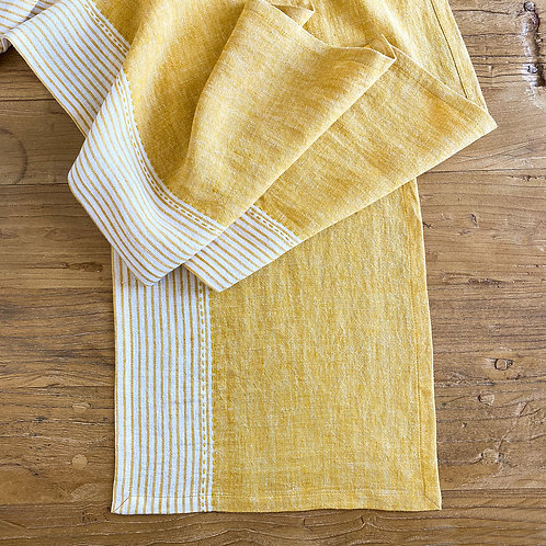 Linen Kitchen Table Runner, Yellow S/2