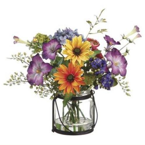 "Daisy/Ranunculus/Morning Glory in Glass Vase 11"""