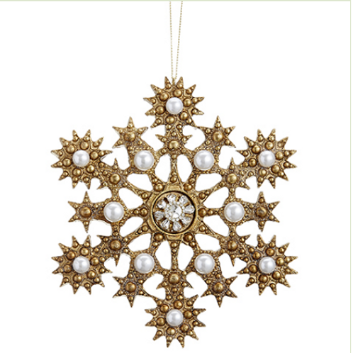 "Rhinestone/Pearl Snowflake Ornament 6.5"""