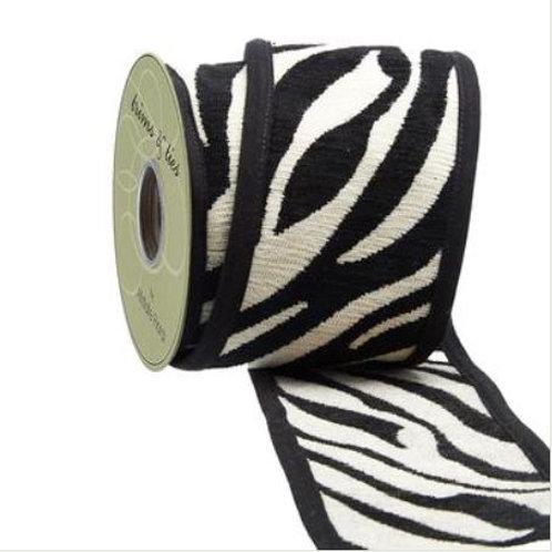 "Zebra Jacquard Ribbon 4""x5YDS, Black Ivory"