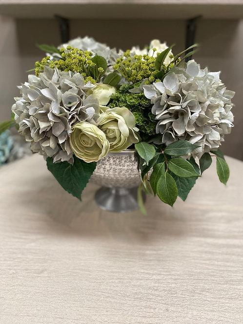 """Hydrangea/Ranunculus/Sedum in Aluminum Bowl 14""""H"""