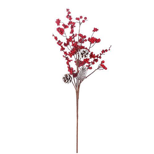 "Red Berry White Cone Spray 31"""