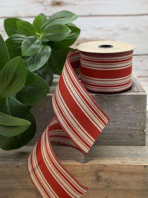"Faux Linen Farmhouse Stripe Red-Natural 2.5""x10yd"
