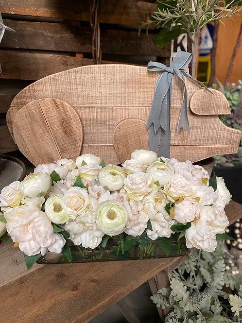 "Peony/Ranunculus/Rose in Glass Vase 10"""
