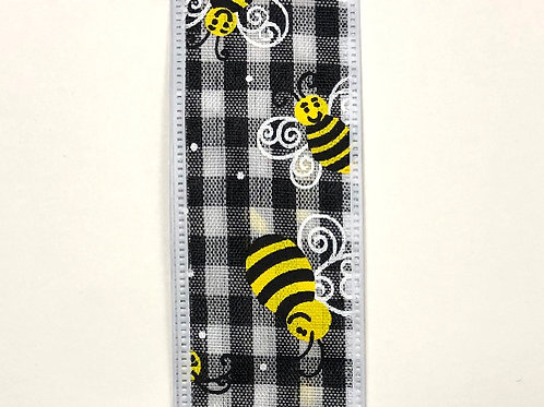 "Gingham Bees, Black White 1.5""x50YDS"