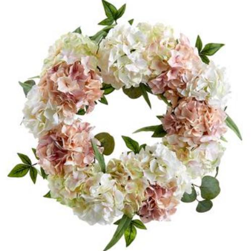 "Hydrangea/Eucalyptus Wreath 24"" $99.00"