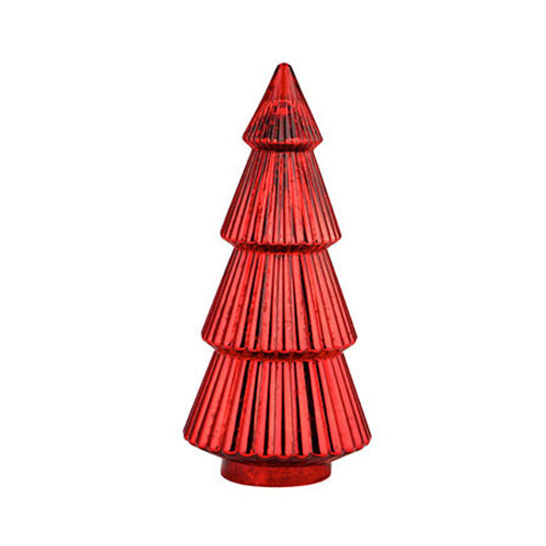 """Glass Christmas Tree Red 14.5""""H x 7""""D"""