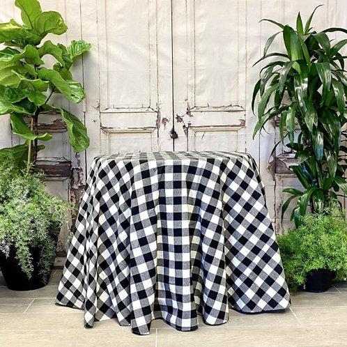 """Linen Buffalo Check Tablecloth Black-White 96"""""""