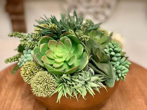 """Echeveria/Succulent/Allium in Metal Container 14""""H"""
