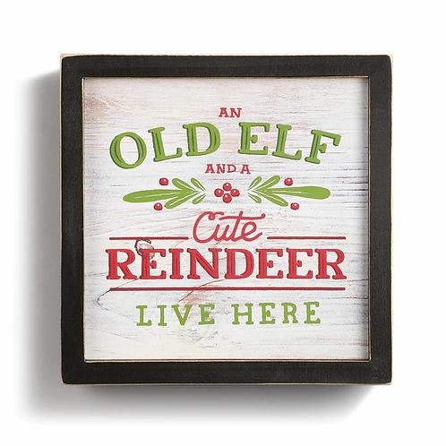 """Old Elf Cute Reindeer Wall Art 6.5"""""""