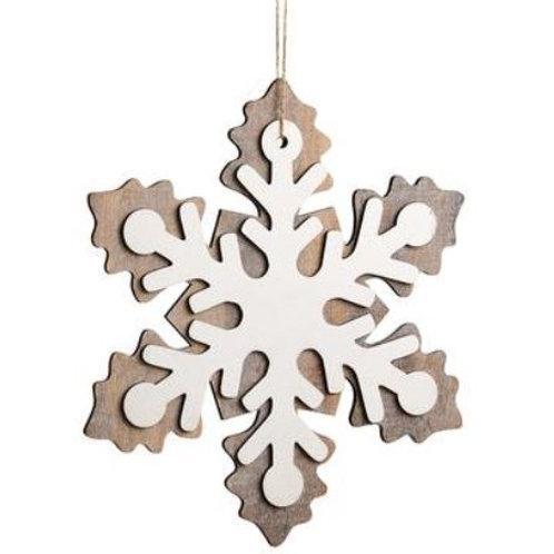 "Snowflake Ornament 11"", Gray White"
