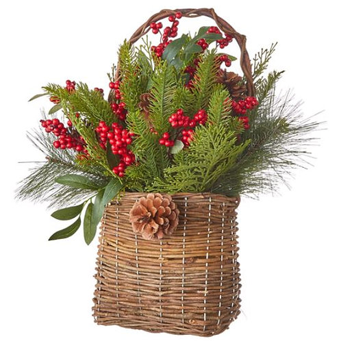 """Berry and Pinecone Greenery Basket 19"""""""