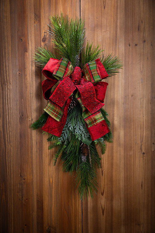 Red Plaid w/ Red Jeweled Bow