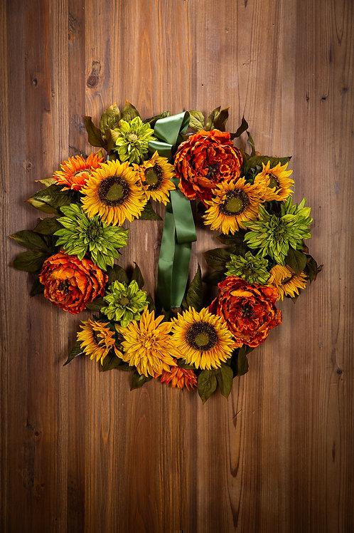 """Sunflower/Dahlia Wreath 26"""""""