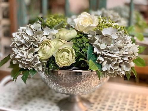 """Hydrangea/Ranunculus/Sedum in Aluminum Bowl 12""""H"""
