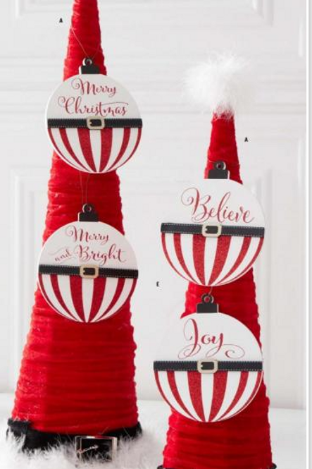 Striped Wooden Message Ornament Red-White