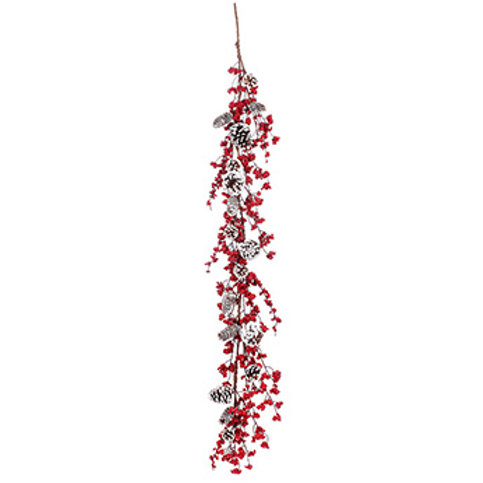 """Red Berry White Cone Garland 60"""""""