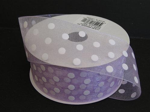 "Lavender Sheer White Dots, 1.5""x25YDS"