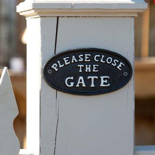 Cast Iron Please Close Gate Plaque