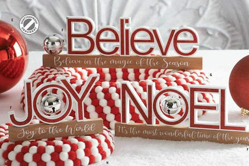 Joy Glittered Holiday Message Red Cutout not a set