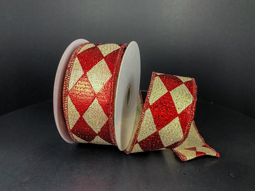 """LIGHT GOLD-RED HOLO HARLEQUIN 1.5""""X10Y $19.90"""