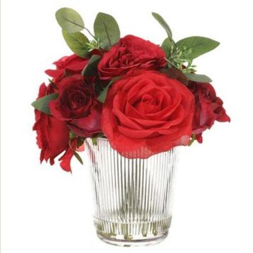 """Rose in Glass Vase 9.5"""", Red"""