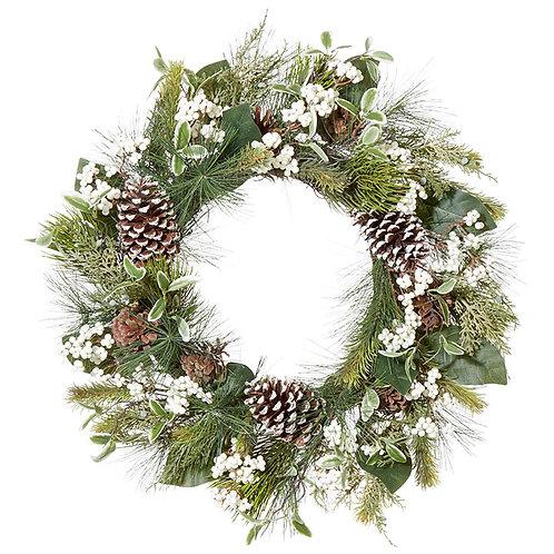 """Pinecone Berry Wreath 24"""""""