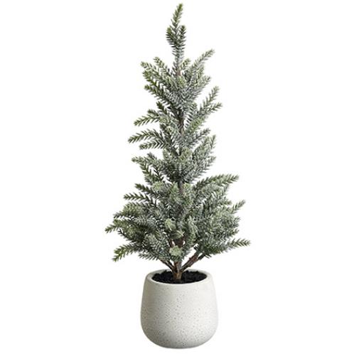 "Glittered Pine Tree in Terra Cotta Pot 17"""