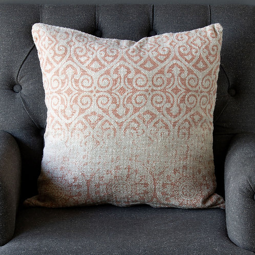 Vintage Printed Linen Pillow, Faded Coral