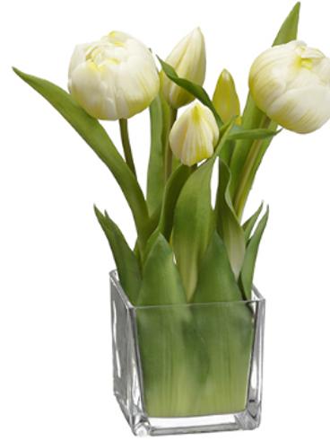 """Tulip in Glass Vase White 9"""""""