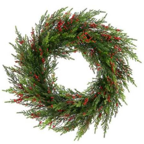 "Berry Cedar Wreath 22"", Red Green"