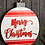 "Thumbnail: Merry Christmas Disc Wall Decor Red White 15.25"""