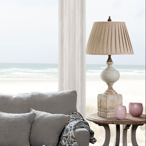 Painted Post Lamp with Pleated Shade
