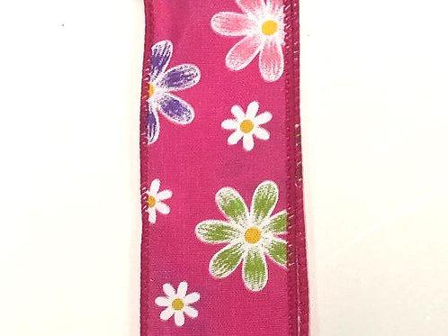 "Spring Daisies, Fuchsia 1.5""x50YDS"