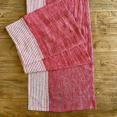 Linen Kitchen Table Runner, Red S/2