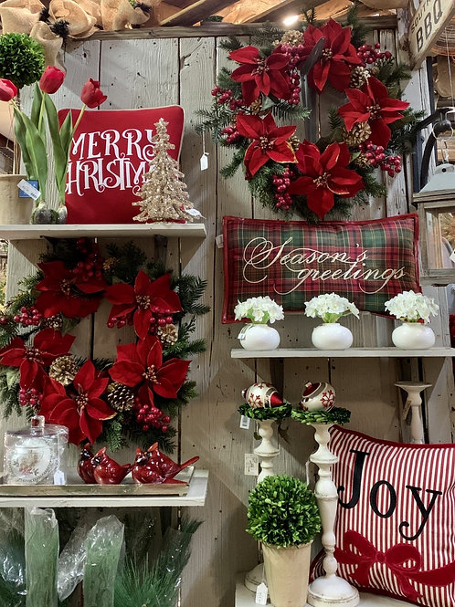 """Merry Christmas Pillow Red/White 16"""""""