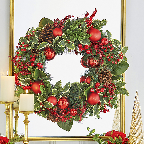 """Holly Pinecone Wreath 26"""""""
