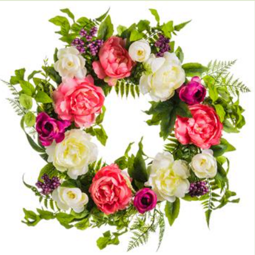 "Peony/Berry/Fern Wreath 22"""
