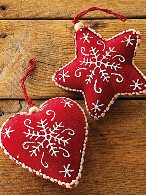 "Star and Heart Felt Ornament 5"""