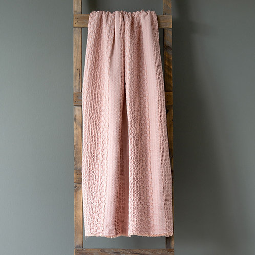 Heathered Waffle Weave Throw, Faded Coral