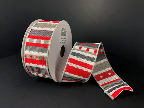 """LINEN GREY-RED WHIMSY 1.5""""X10Y $9.90"""